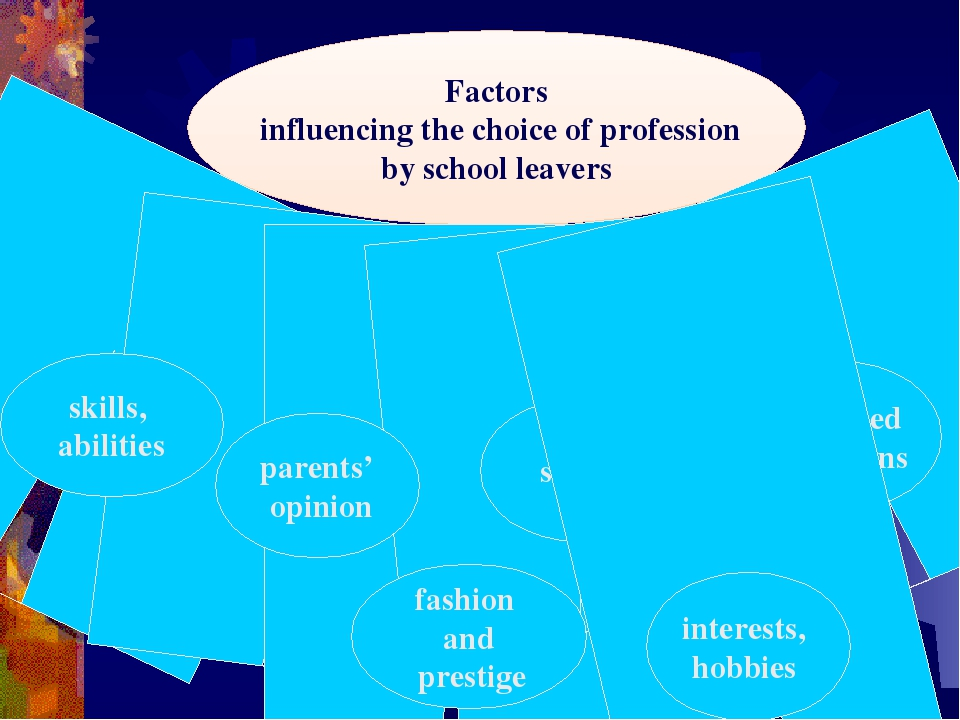 Factors influencing the choice of profession by school leavers skills, abilit...