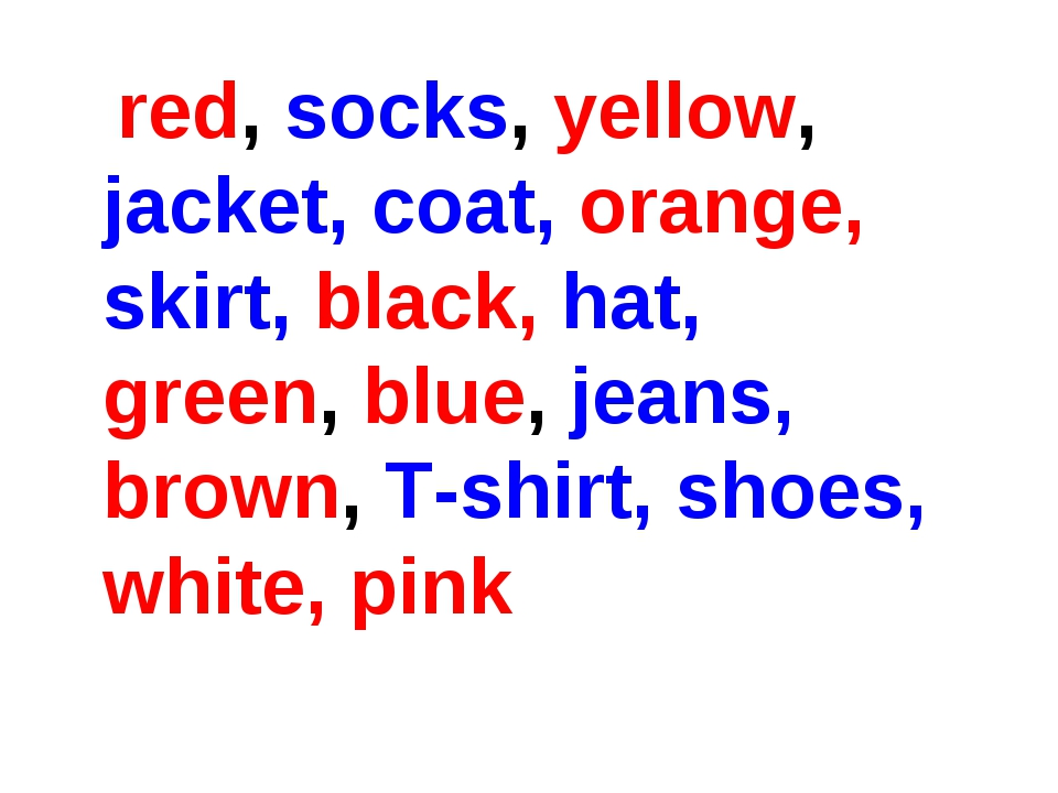 red, socks, yellow, jacket, coat, orange, skirt, black, hat, green, blue, je...