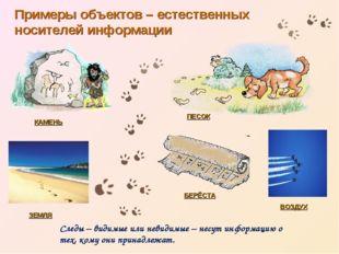 КАМЕНЬ БЕРЁСТА ПЕСОК ЗЕМЛЯ Примеры объектов – естественных носителей информац