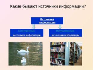 Какие бывают источники информации? Источники информации Естественные источни