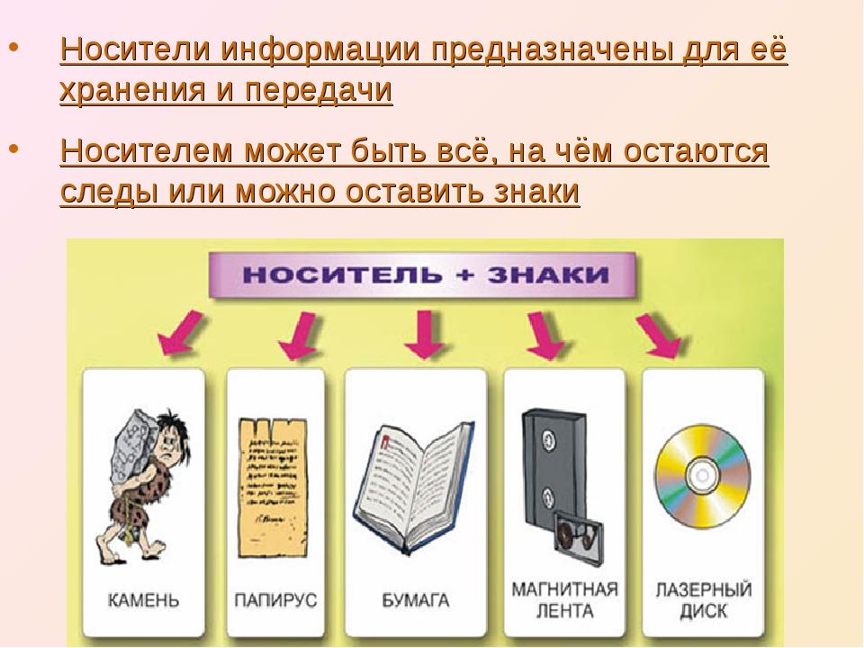 Носители информации предназначены для её хранения и передачи Носителем может...