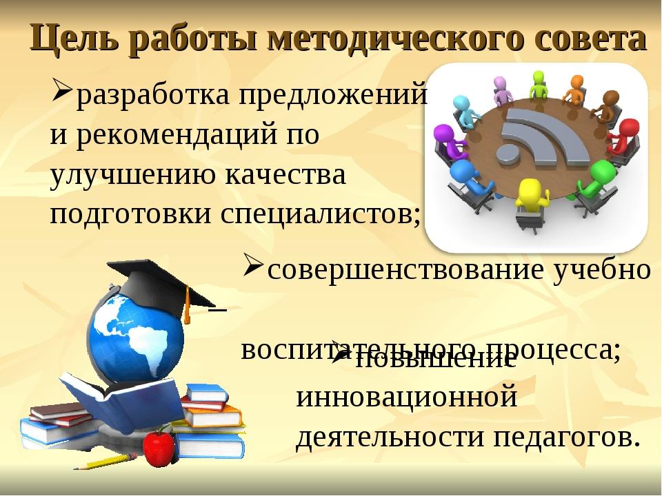 Цель работы методического совета разработка предложений и рекомендаций по улу...