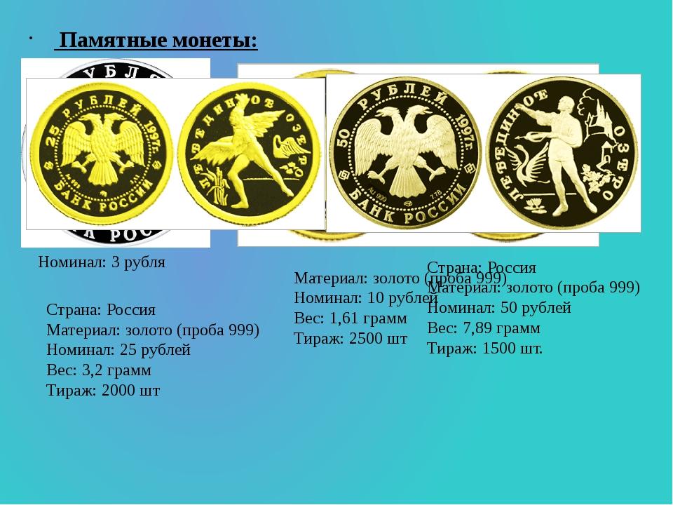 Памятные монеты: Номинал:3 рубля Материал: золото (проба 999) Номинал: 10 р...