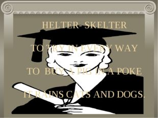 HELTER- SKELTER TO TRY IN EVERY WAY TO BUY A PIG IN A POKE IT RAINS CATS AND