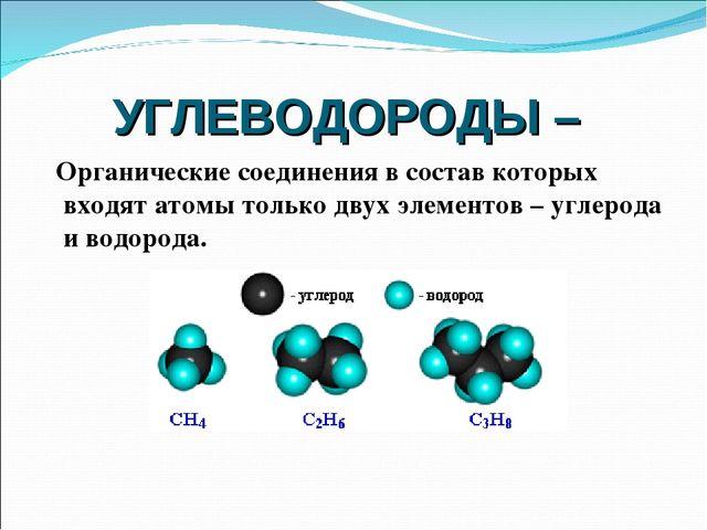 УГЛЕВОДОРОДЫ – Органические соединения в состав которых входят атомы только д...