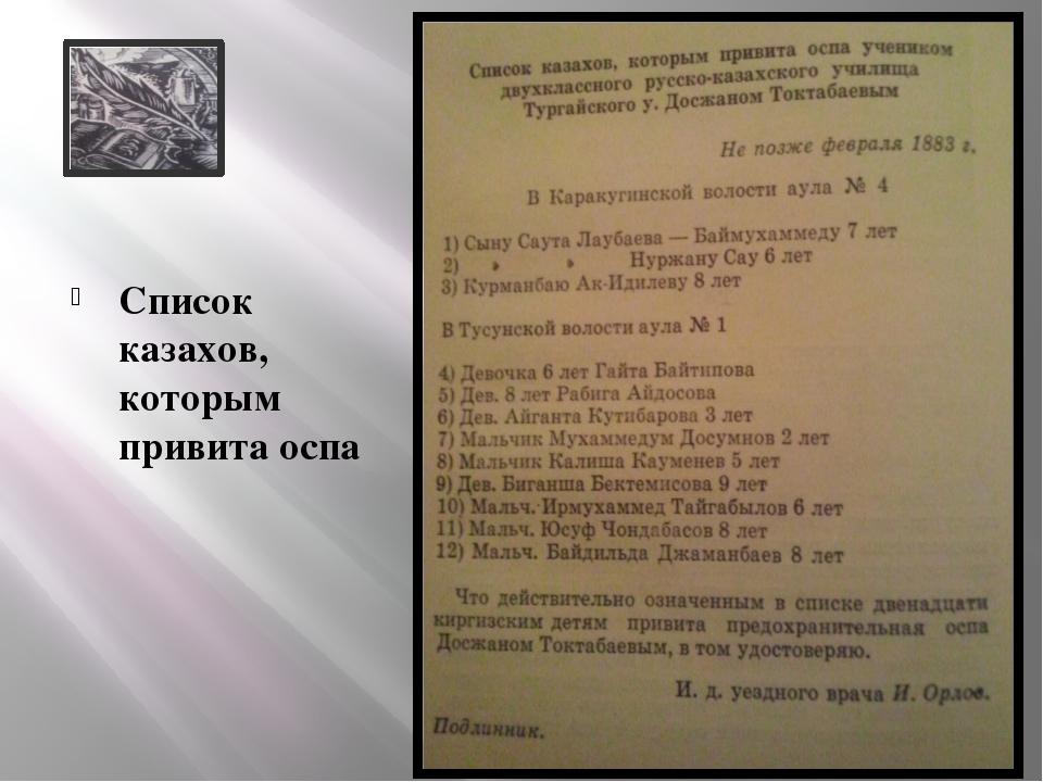 Список казахов, которым привита оспа