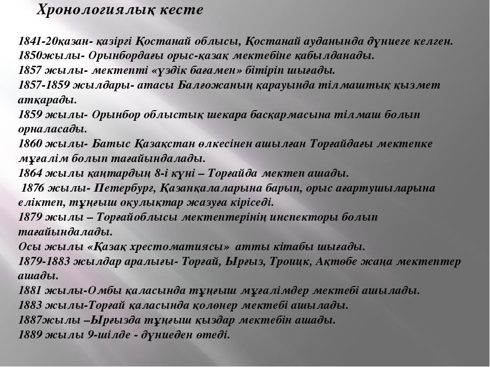 Хронологиялық кесте 1841-20қазан- қазіргі Қостанай облысы, Қостанай ауданынд...