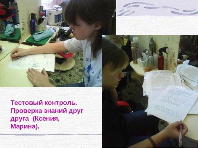 Тестовый контроль. Проверка знаний друг друга (Ксения, Марина).