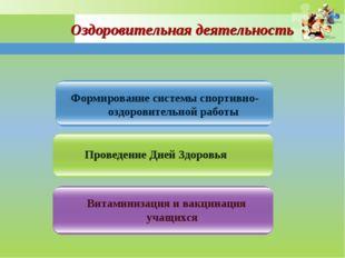 Формирование системы спортивно-оздоровительной работы Проведение Дней Здоровь
