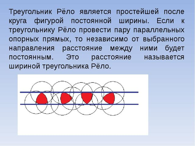 Треугольник Рёло является простейшей после круга фигурой постоянной ширины. Е...
