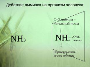 Действие аммиака на организм человека NH3 NH3 C=3 ммоль/л – летальный исход Н