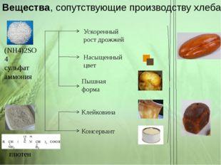 Вещества, сопутствующие производству хлеба (NH4)2SO4 сульфат аммония глютен У