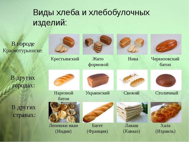 Виды хлеба и хлебобулочных изделий: В городе Краснотурьинске: Крестьянский Жи...