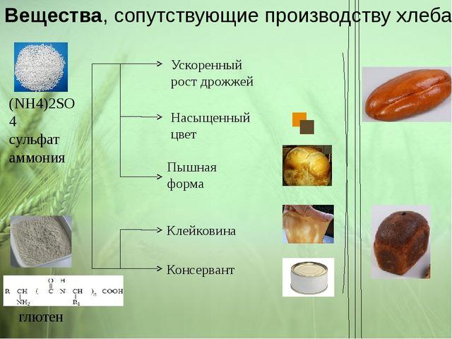 Вещества, сопутствующие производству хлеба (NH4)2SO4 сульфат аммония глютен У...