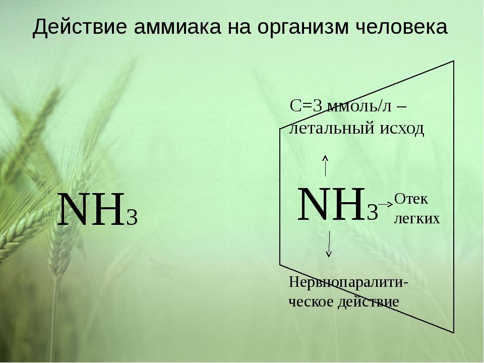 Действие аммиака на организм человека NH3 NH3 C=3 ммоль/л – летальный исход Н...