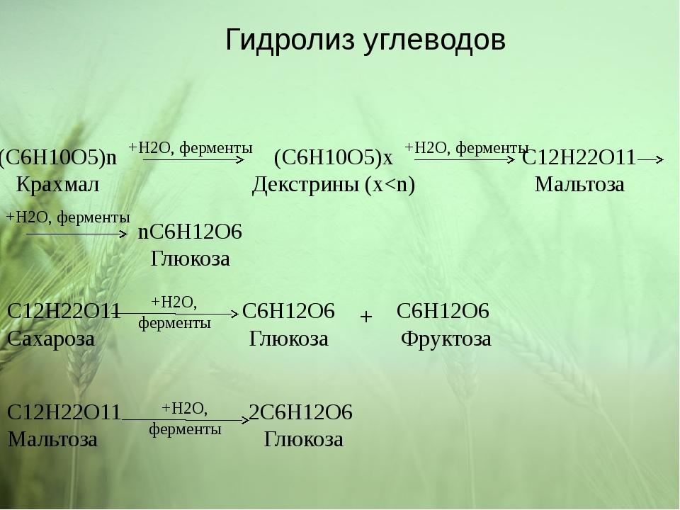 (C6H10O5)n Крахмал (C6H10O5)x Декстрины (x