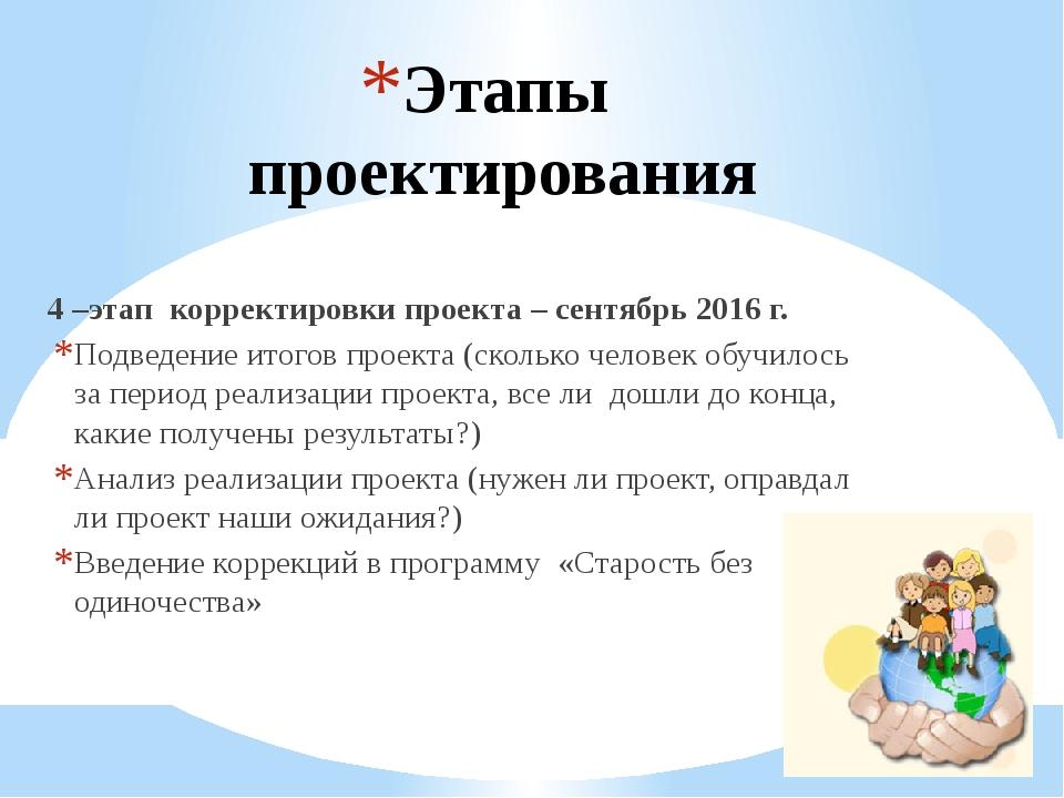 Этапы проектирования 4 –этап корректировки проекта – сентябрь 2016 г. Подведе...