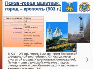 Псков -город защитник, город – крепость (903 г.)
