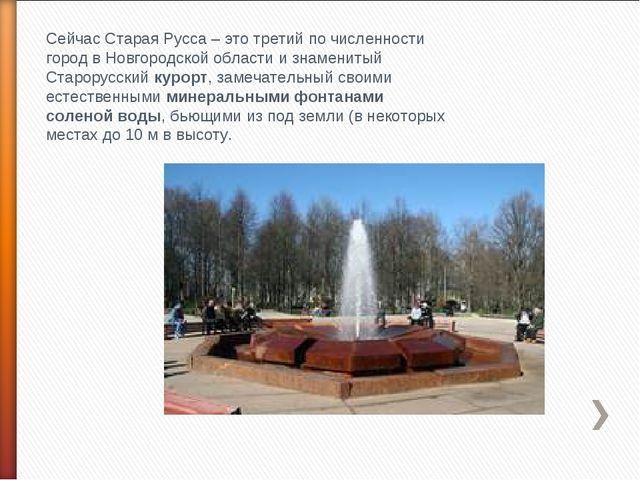 Сейчас Старая Русса – это третий по численности город в Новгородской области...