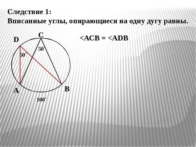 Следствие 1: Вписанные углы, опирающиеся на одну дугу равны. А В С D 50˚ 50˚...