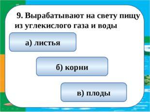 9. Вырабатывают на свету пищу из углекислого газа и воды а) листья б) корни
