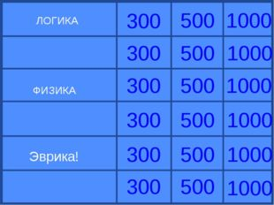ЛОГИКА ФИЗИКА Эврика! 1000 1000 1000 1000 1000 1000 300 300 300 300 300 300