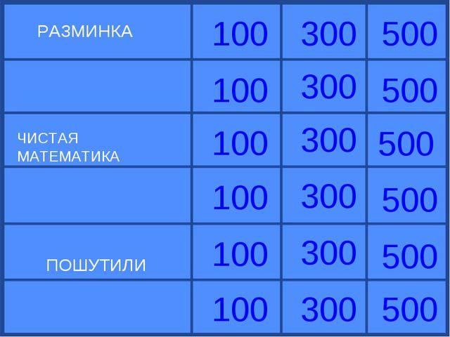 РАЗМИНКА ЧИСТАЯ МАТЕМАТИКА 100 100 100 100 100 100 300 300 300 300 300 300 50...