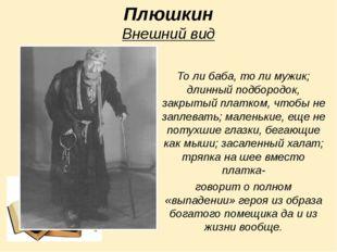 Плюшкин Внешний вид То ли баба, то ли мужик; длинный подбородок, закрытый пла