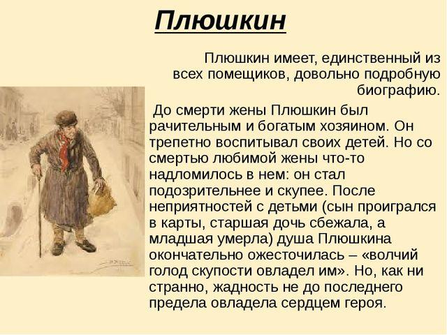 Плюшкин Плюшкин имеет, единственный из всех помещиков, довольно подробную био...