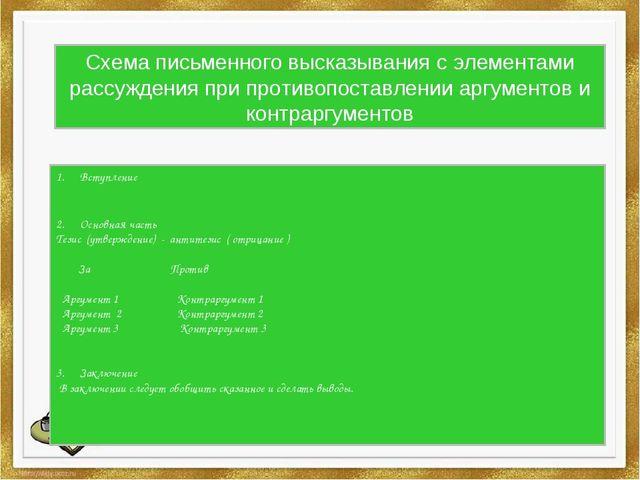 Схема письменного высказывания с элементами рассуждения при противопоставлени...