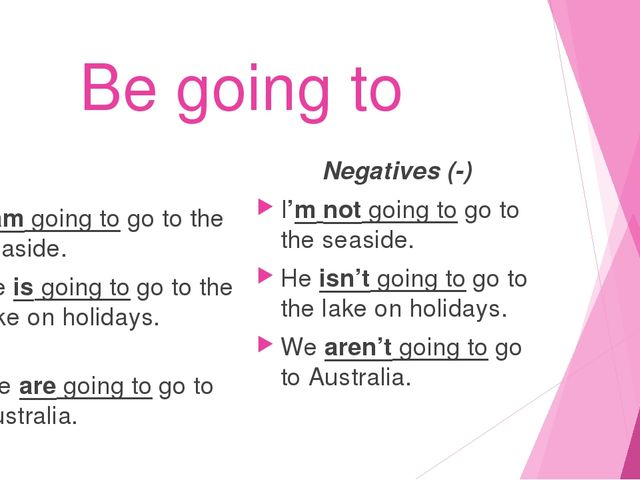 Be going to I am going to go to the seaside. He is going to go to the lake on...