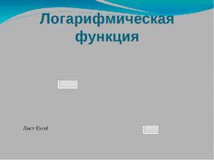 Логарифмическая функция Лист Excel