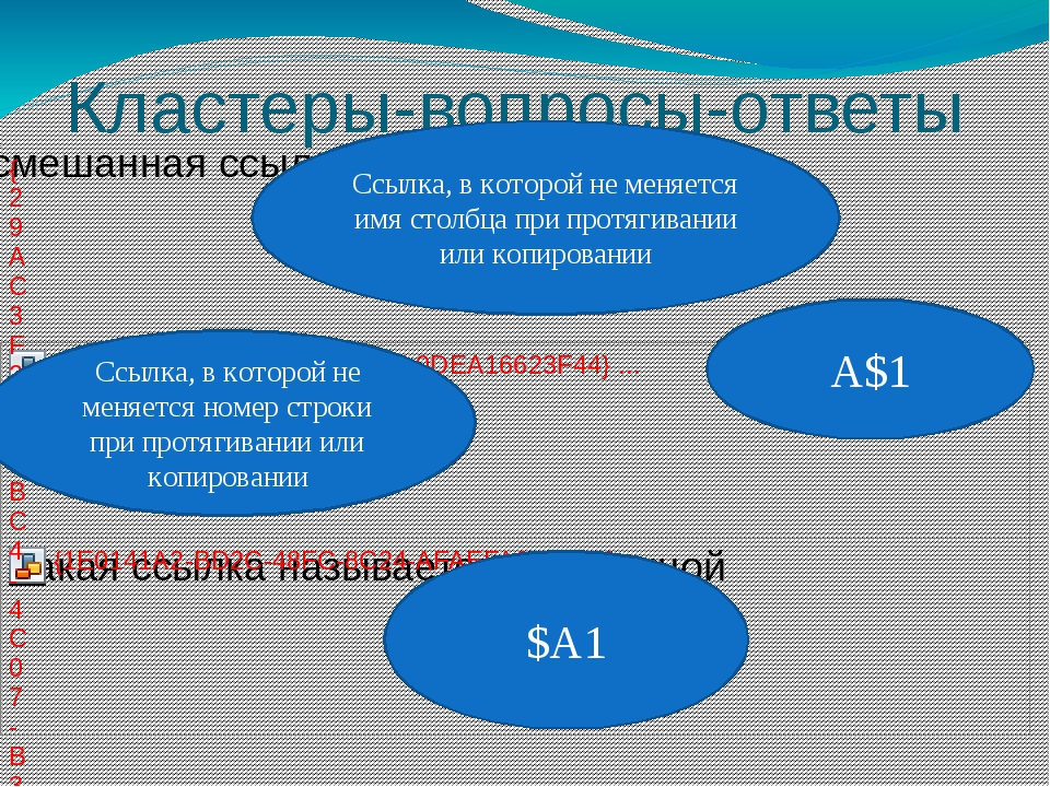 Кластеры-вопросы-ответы Ссылка, в которой не меняется имя столбца при протяги...