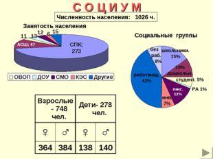 С О Ц И У М Занятость населения Социальные группы Численность населения: 1026