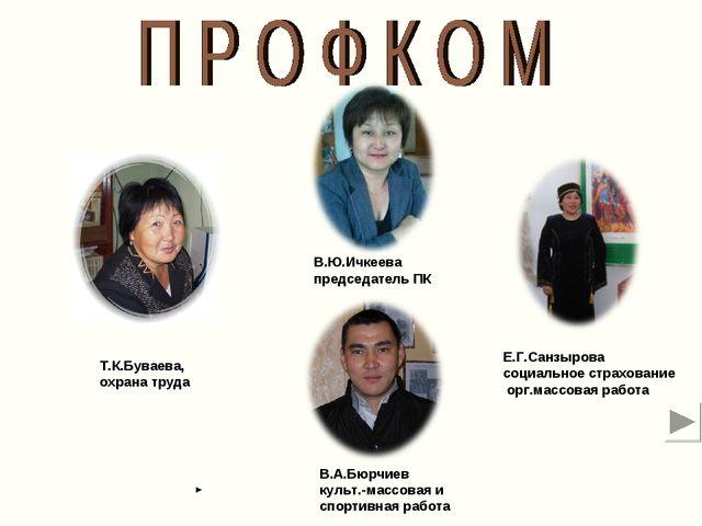 В.Ю.Ичкеева председатель ПК Е.Г.Санзырова социальное страхование орг.массовая...