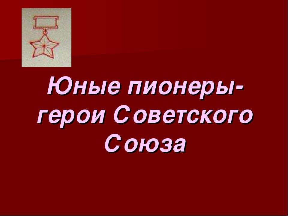 Юные пионеры-герои Советского Союза