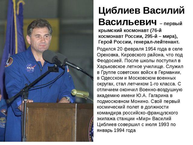 Циблиев Василий Васильевич – первый крымский космонавт (76-й космонавт Росси...