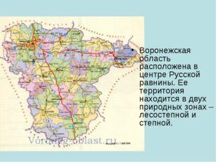 Воронежская область расположена в центре Русской равнины. Ее территория наход