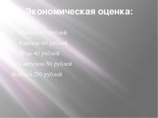 Экономическая оценка: Пряжа-100 рублей Крючок-60 рублей Игла-40 рублей Синтеп