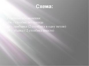 Схема: Условные обозначения: сбн – столбик без накида пр – прибавка (2 стол