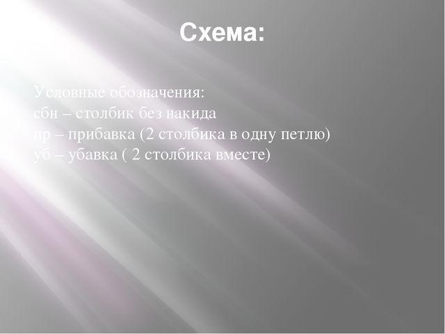 Схема: Условные обозначения: сбн – столбик без накида пр – прибавка (2 стол...