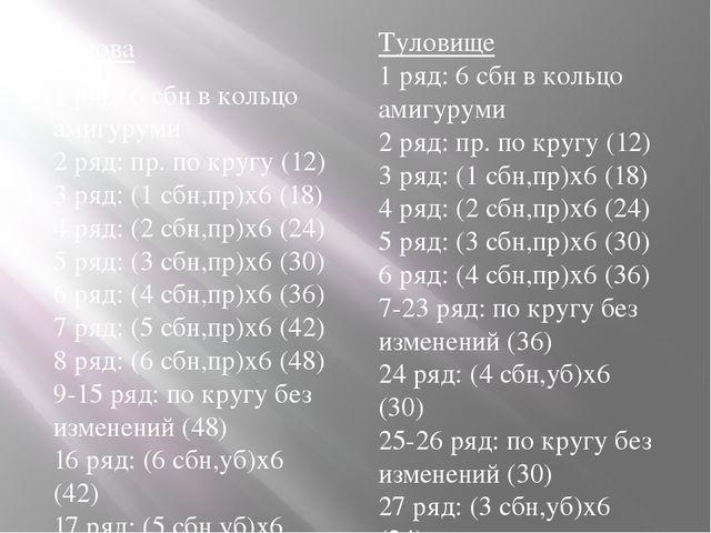 Голова 1 ряд: 6 сбн в кольцо амигуруми 2 ряд: пр. по кругу (12) 3 ряд: (1 с...