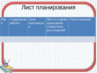 Лист планирования №п/п Содержание работы Срок выполнения Место и время провед
