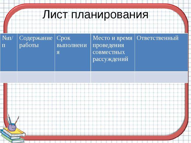 Лист планирования №п/п Содержание работы Срок выполнения Место и время провед...