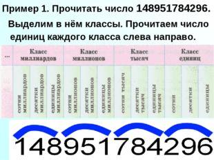 Пример 1. Прочитать число 148951784296. Выделим в нём классы. Прочитаем число