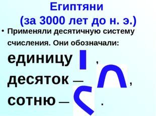 Египтяни (за 3000 лет до н. э.) Применяли десятичную систему счисления. Они о