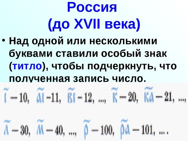 Россия (до XVII века) Над одной или несколькими буквами ставили особый знак (...
