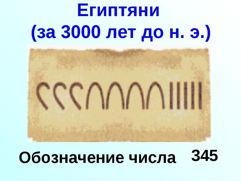 Египтяни (за 3000 лет до н. э.) Обозначение числа 345