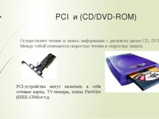 PCI и (CD/DVD-ROM) Осуществляет чтение и запись информации с дисков/на диски
