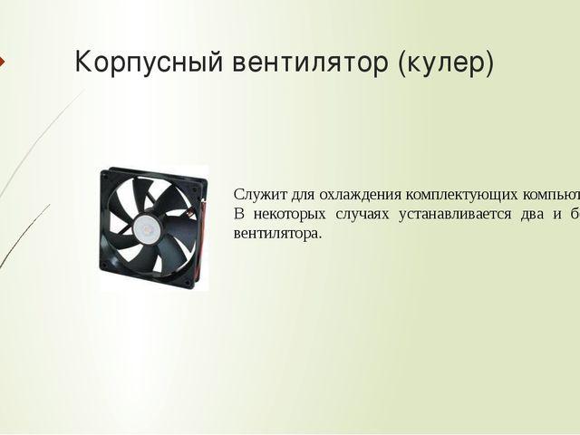 Корпусный вентилятор (кулер) Служит для охлаждения комплектующих компьютера....